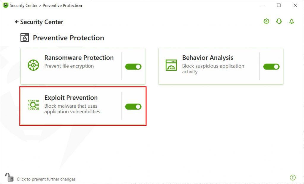 Dr. Web Exploit Protection Feature