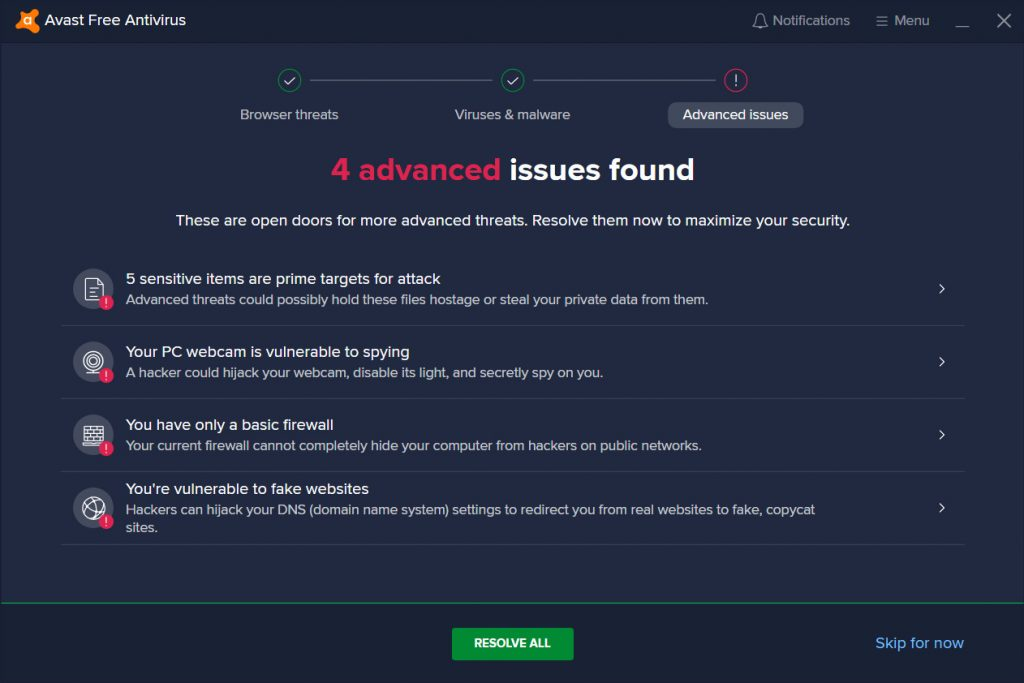 Result of Avast Advanced issues Scan