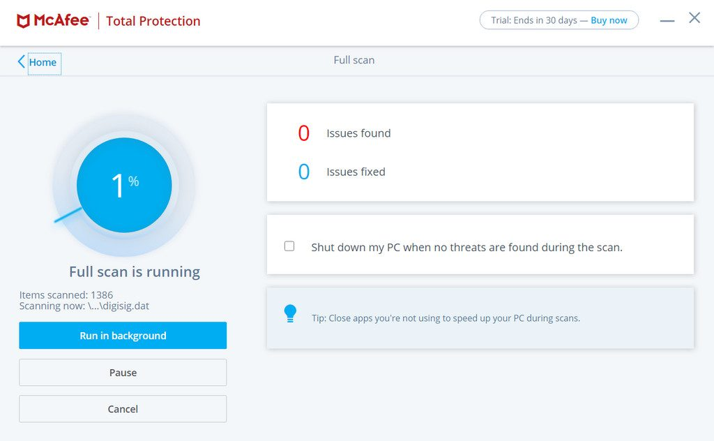 McAfee Total Protection File Scanning Process