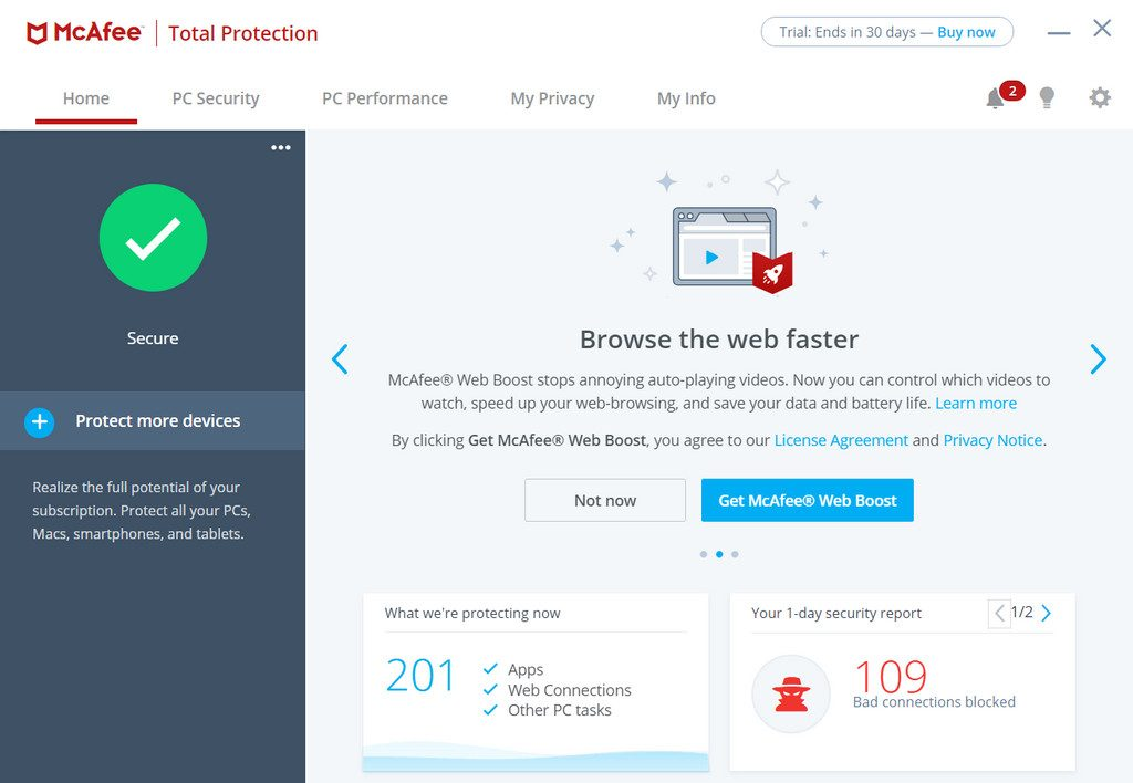 Web Boose Feature of McAfee Total Protection