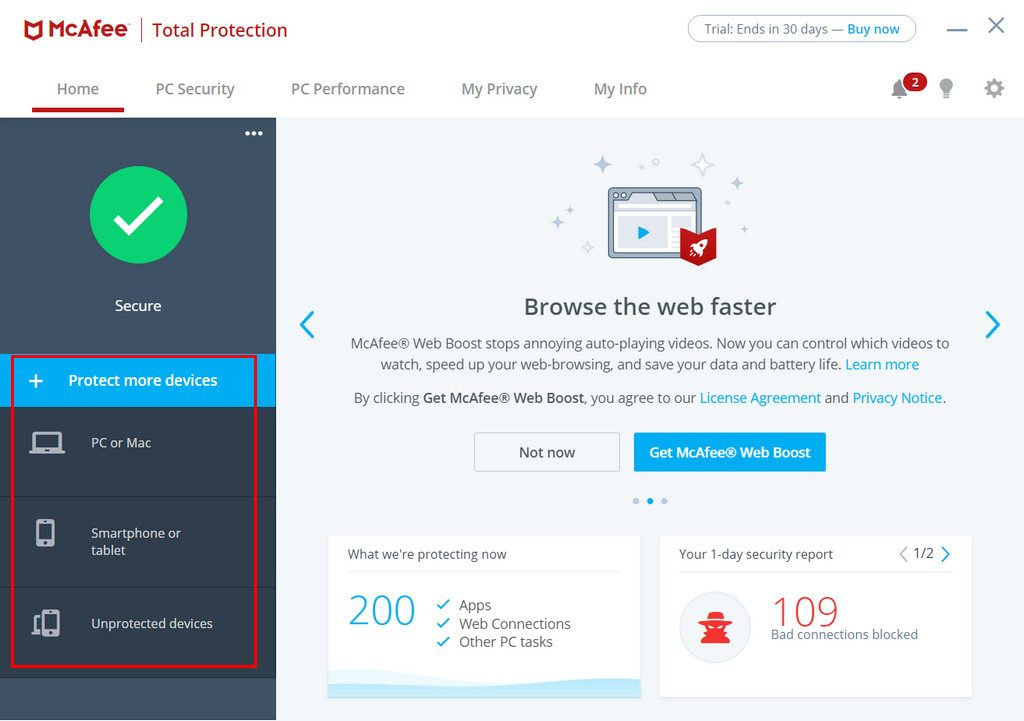 McAfee home screen with security features