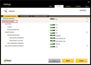 Norton 360 Antivirus Real Time Protection Window
