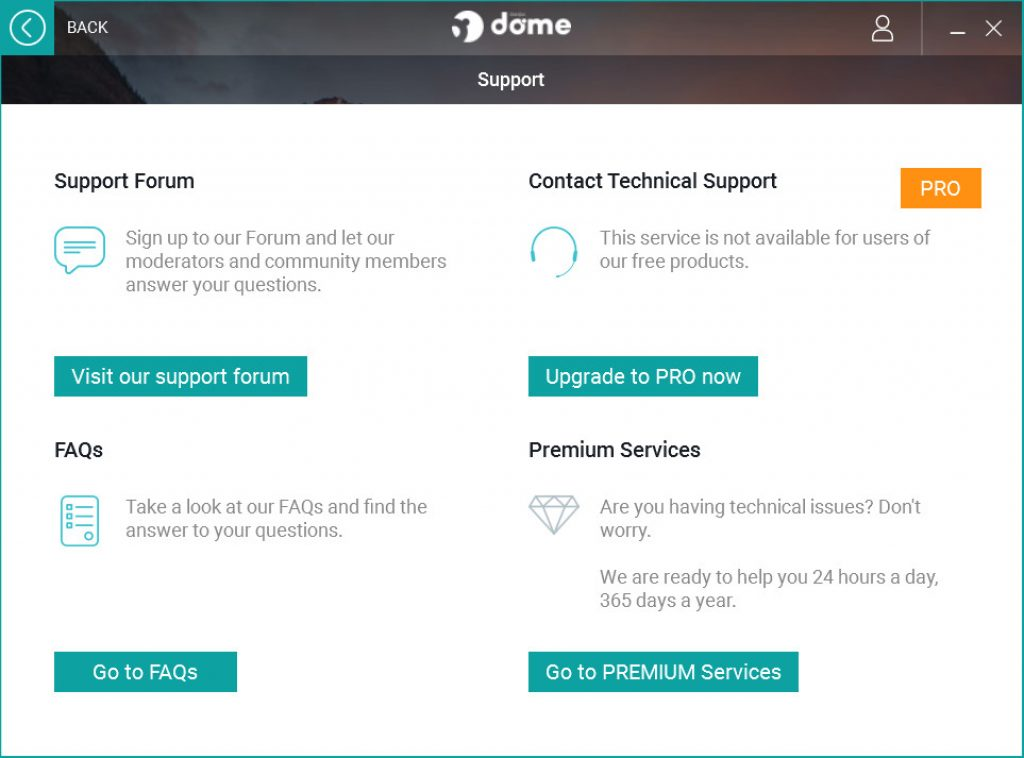 Panda Dome Customer Support Section