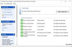 Spybot Antivirus Rootkit Scan