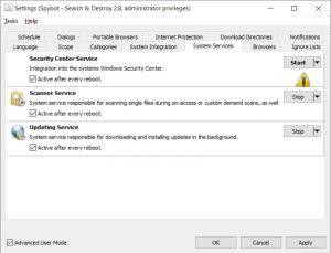 Spybot Antivirus System Services Settings
