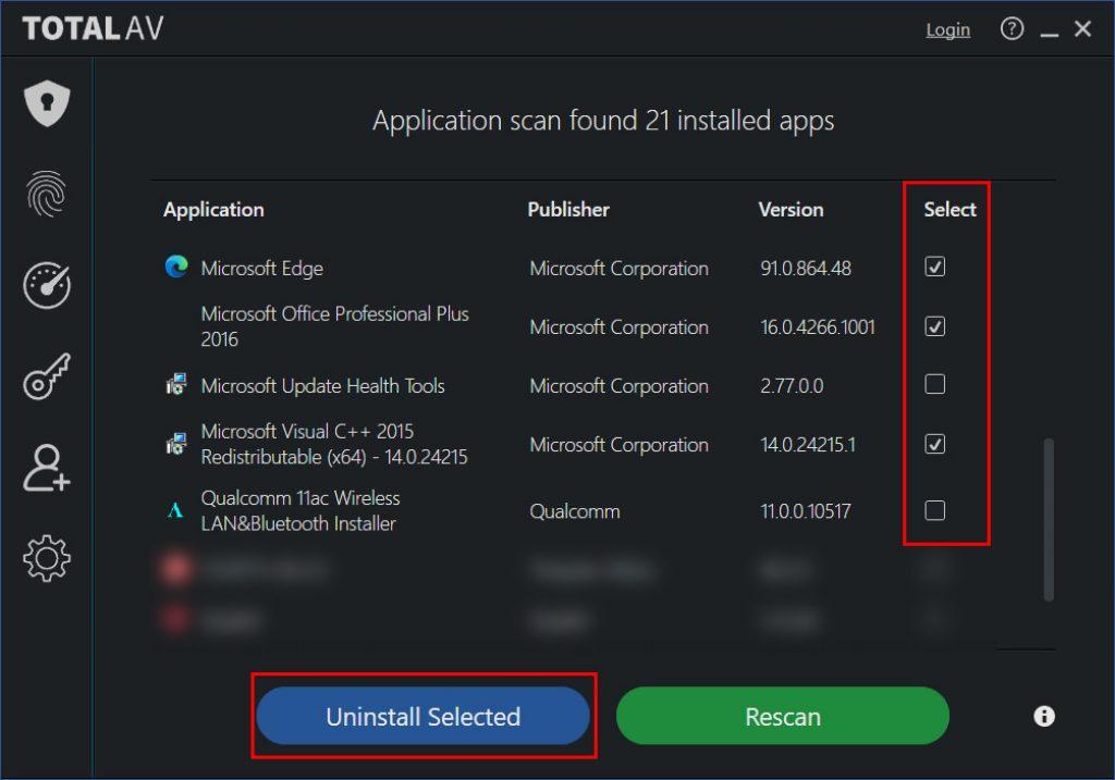 TotalAV Application Uninstallation Window