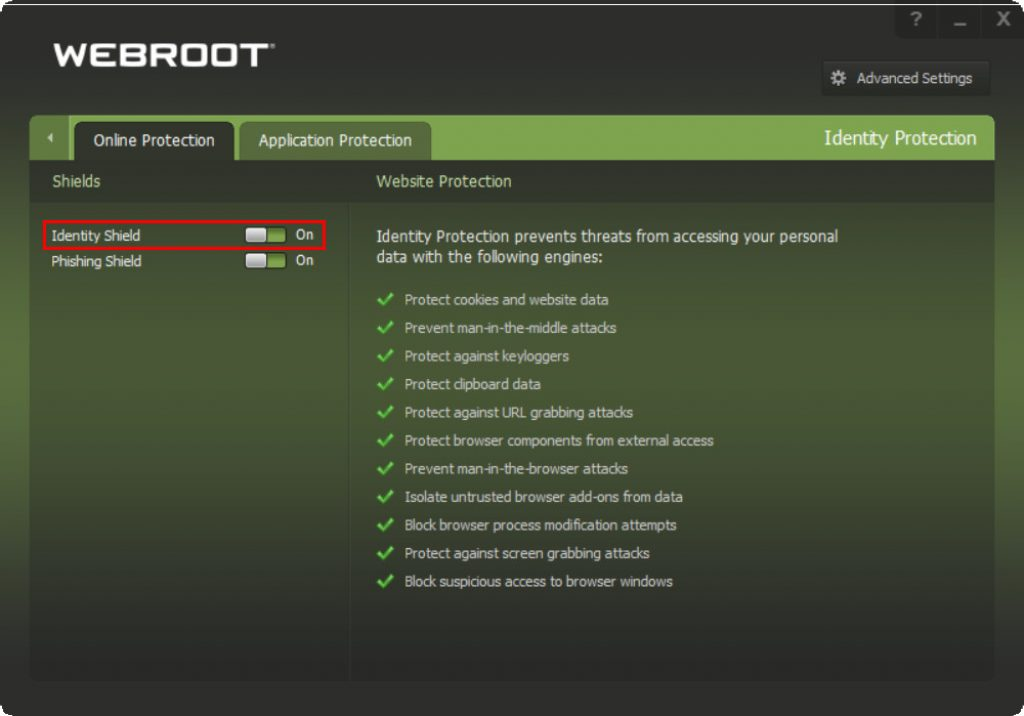 Webroot Online Protection Identity Shield