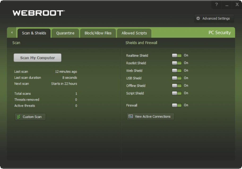Webroot Shields & Firewall Protection