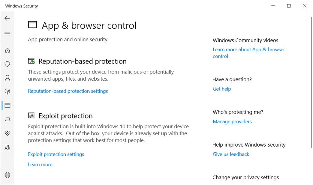 Windows Defender App and Browser Control