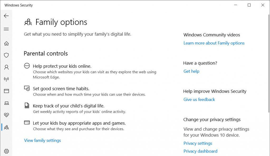 Windows Defender Family Options