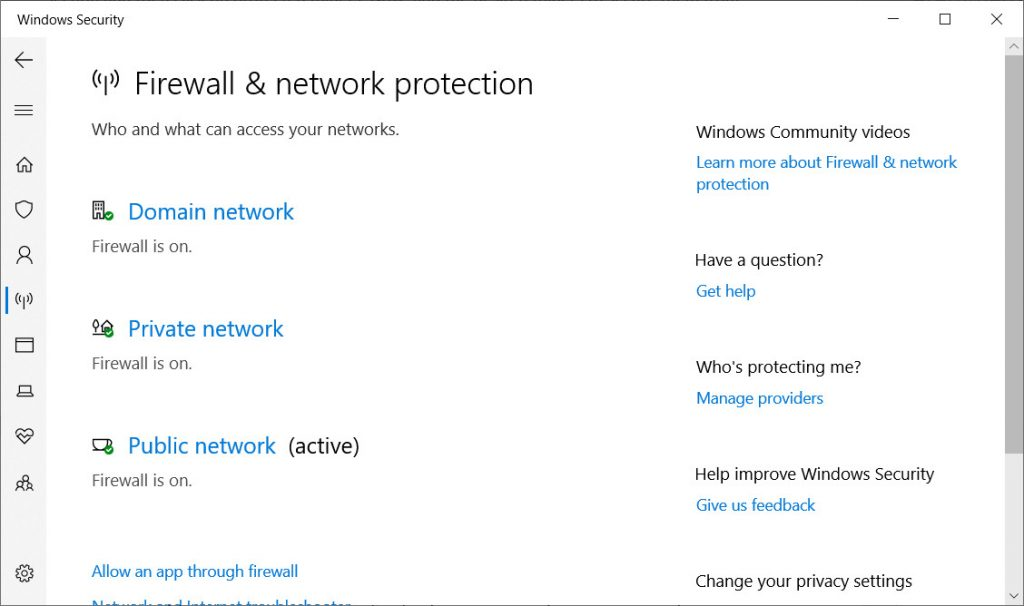 Windows Defender Firewall and Network Protection