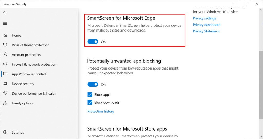 Windows Defender Phishing and Spoofing Protection