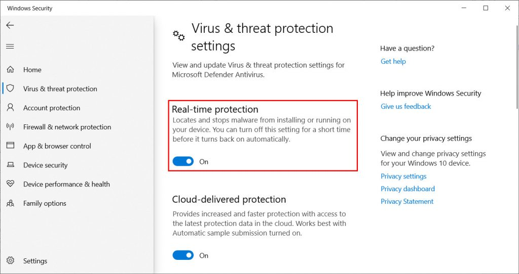 Windows Defender Real Time Protection Settings