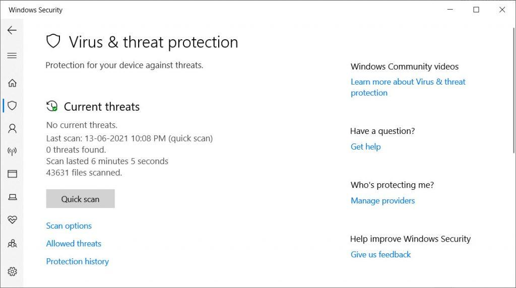 Windows Defender Virus and Threat Protection Window
